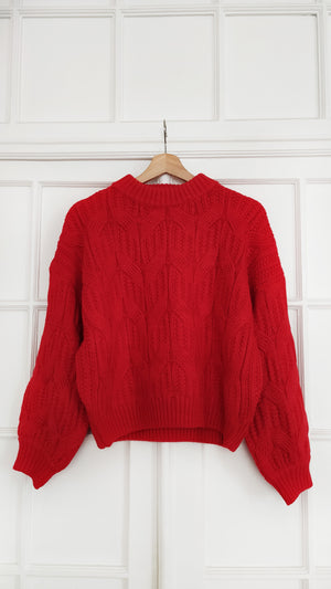 Maylis Red Crew Neck Chunky Knit