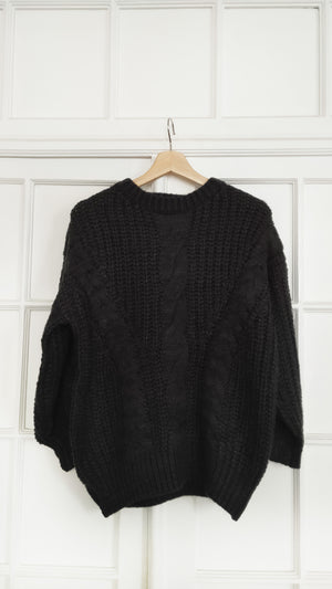 Maud Black Chunky Cable Knit