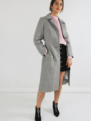 Grey Houndstooth Trenchcoat