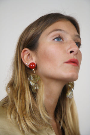 Transparent And Red Amelia Earrings