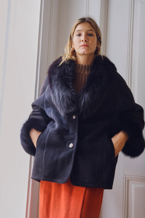 Black Sheepskin and Fur Coat