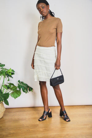 Linen Cream Tired Skirt