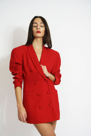 Cherry red tailored blazer dress