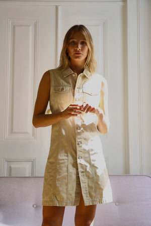 90s Beige Shirt Dress