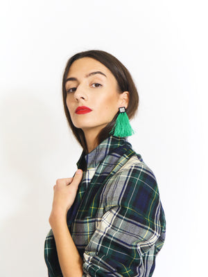 Statement Green Tassel Earrings