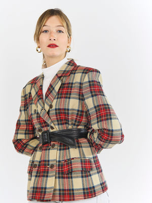 Oversized Checked Wool Blazer