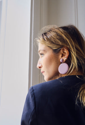 Joanna Mauve Disc Earrings