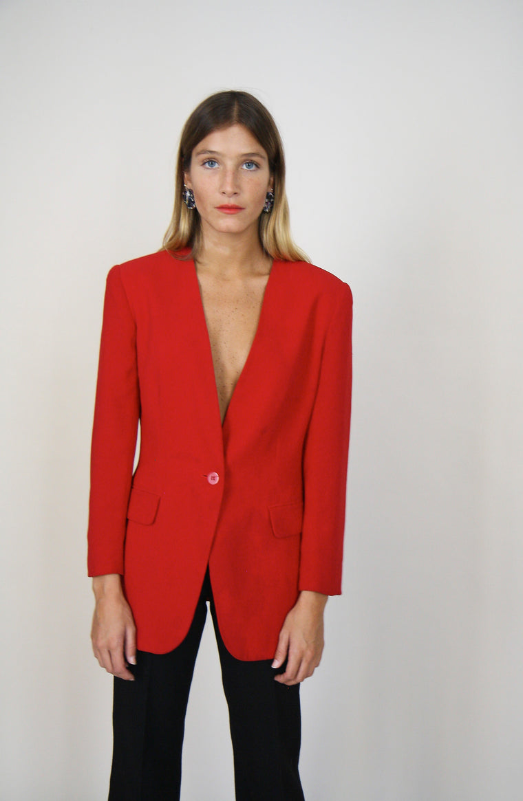 Minimal Red Tailored Blazer