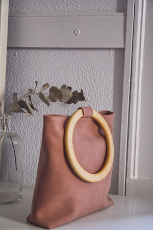 Pink Suedette Wooden Circle Bag