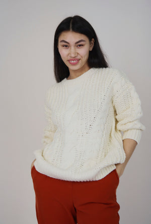 Maud Ivory Chunky Cable Knit