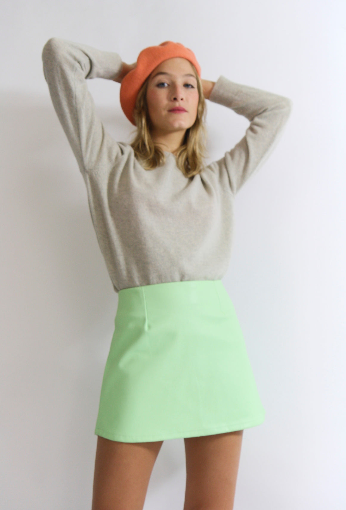 Pistachio Faux Leather Mini Skirt