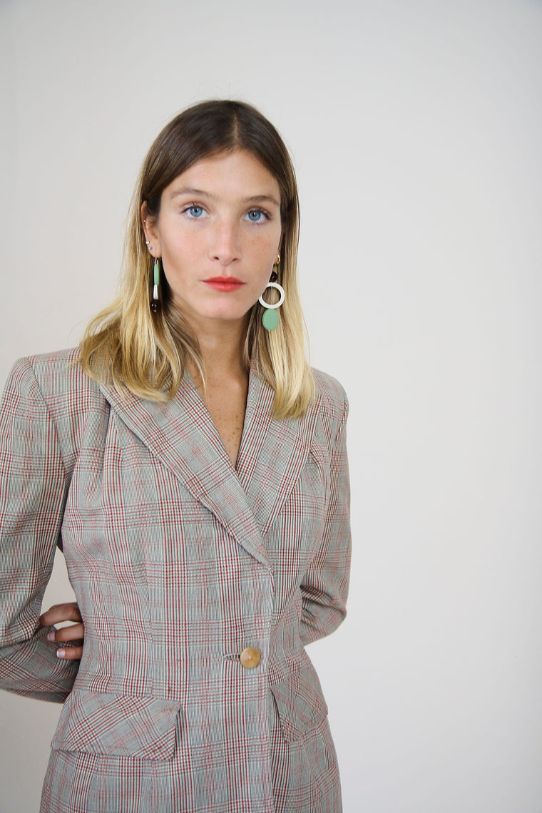 1940s Tailored Checked Blazer