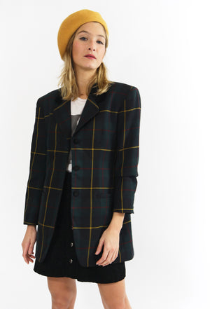 Velvet Collar Plaid Blazer
