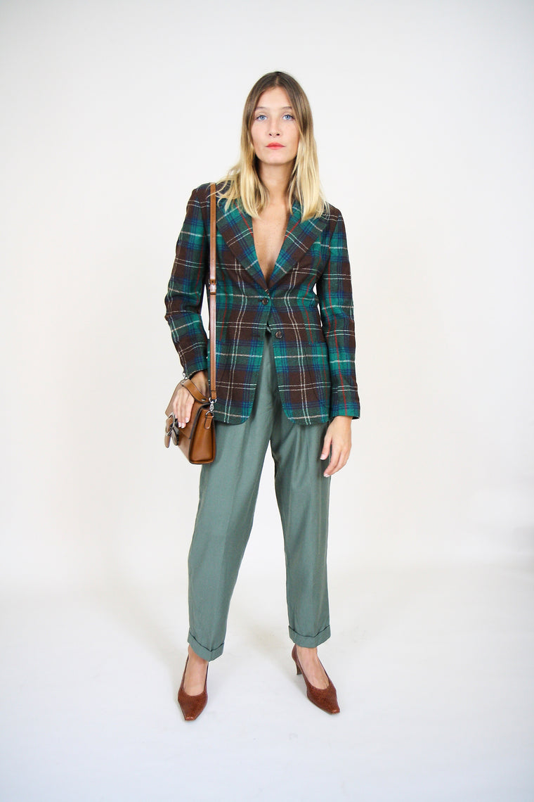 Tailored Olive Wool Trousers
