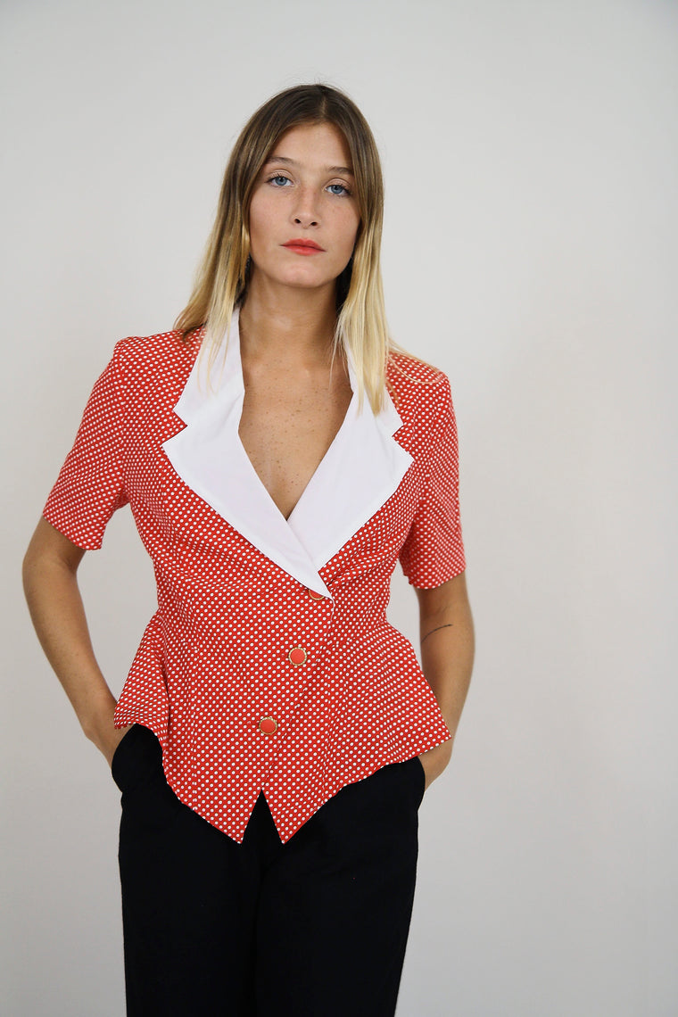 Polka Dot Sculpted Top