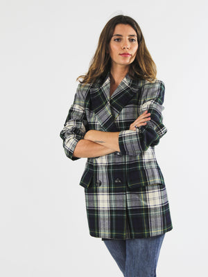 Structured Checked Breasted Blazer
