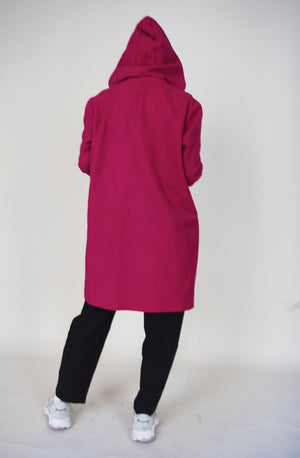 Vintage Fuschia Wool Hooded Coat