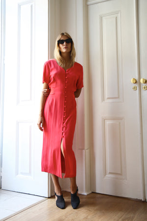 80s Pink Button Up Dress