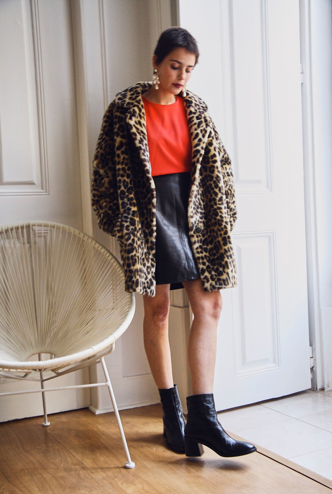 Vintage Faux Fur Leopard Swing Coat