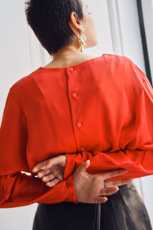 80s Red Back Buttoned Blouse