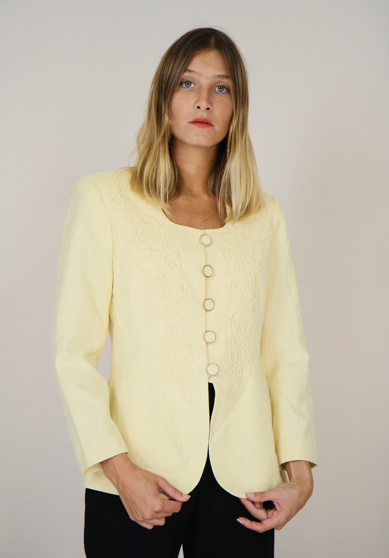 80s Pale Yellow Detailed Jacket