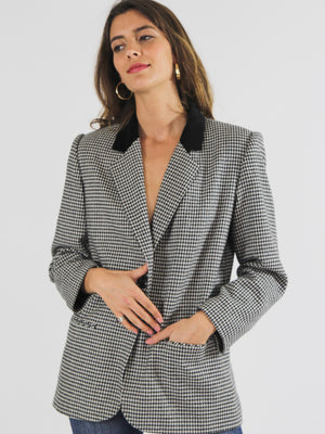 Monochrome Hounds Tooth Wool Blazer