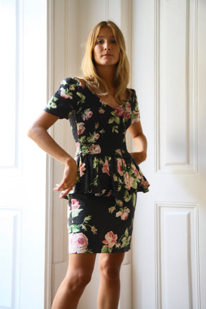 80s  Heathers Rose Print Dress