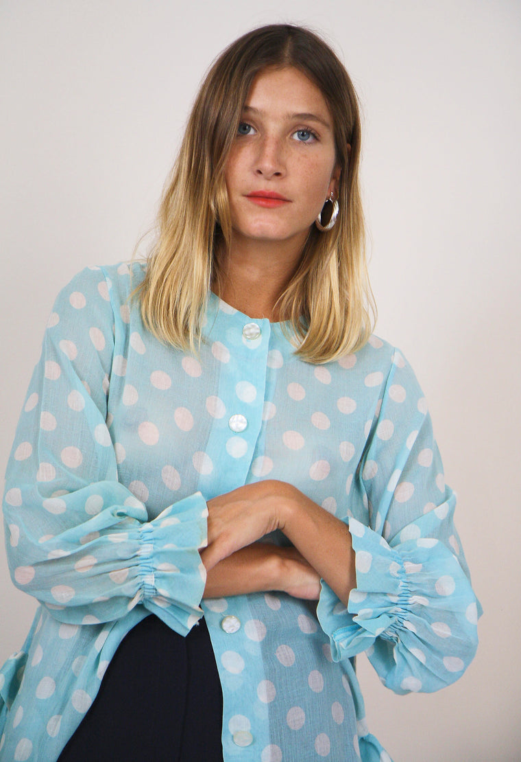 Polka Dot Cotton Button Up Blouse