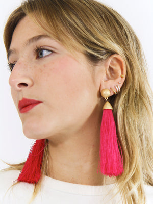 Old and Fuschia Tassel Earrings