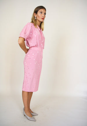 Pink Polka Dot Shirt Dress