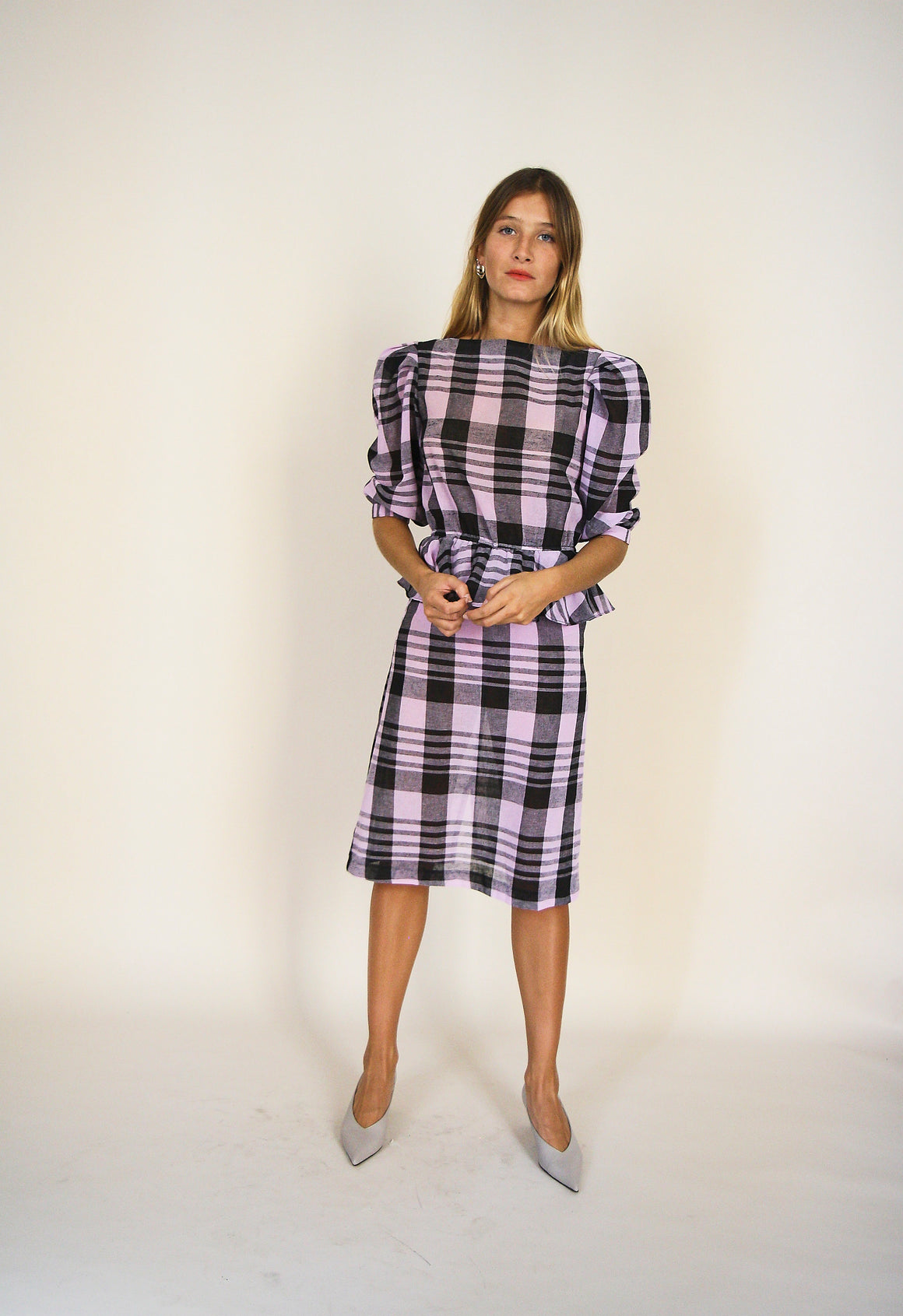 Lilac And Black Checked Puffed Sleeves Dress