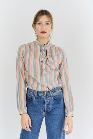 Pastel Stripe Pussy Bow Blouse