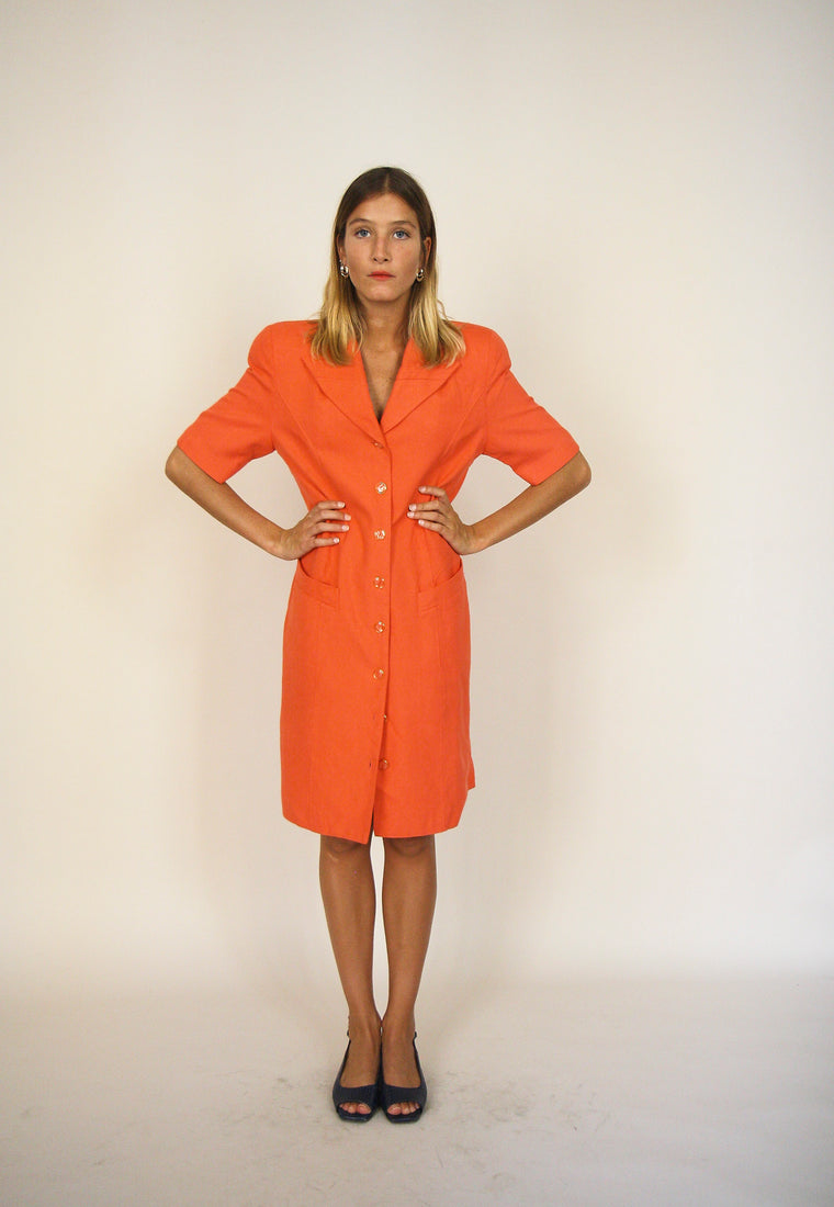 Orange Structured Button Down Shirt Dress