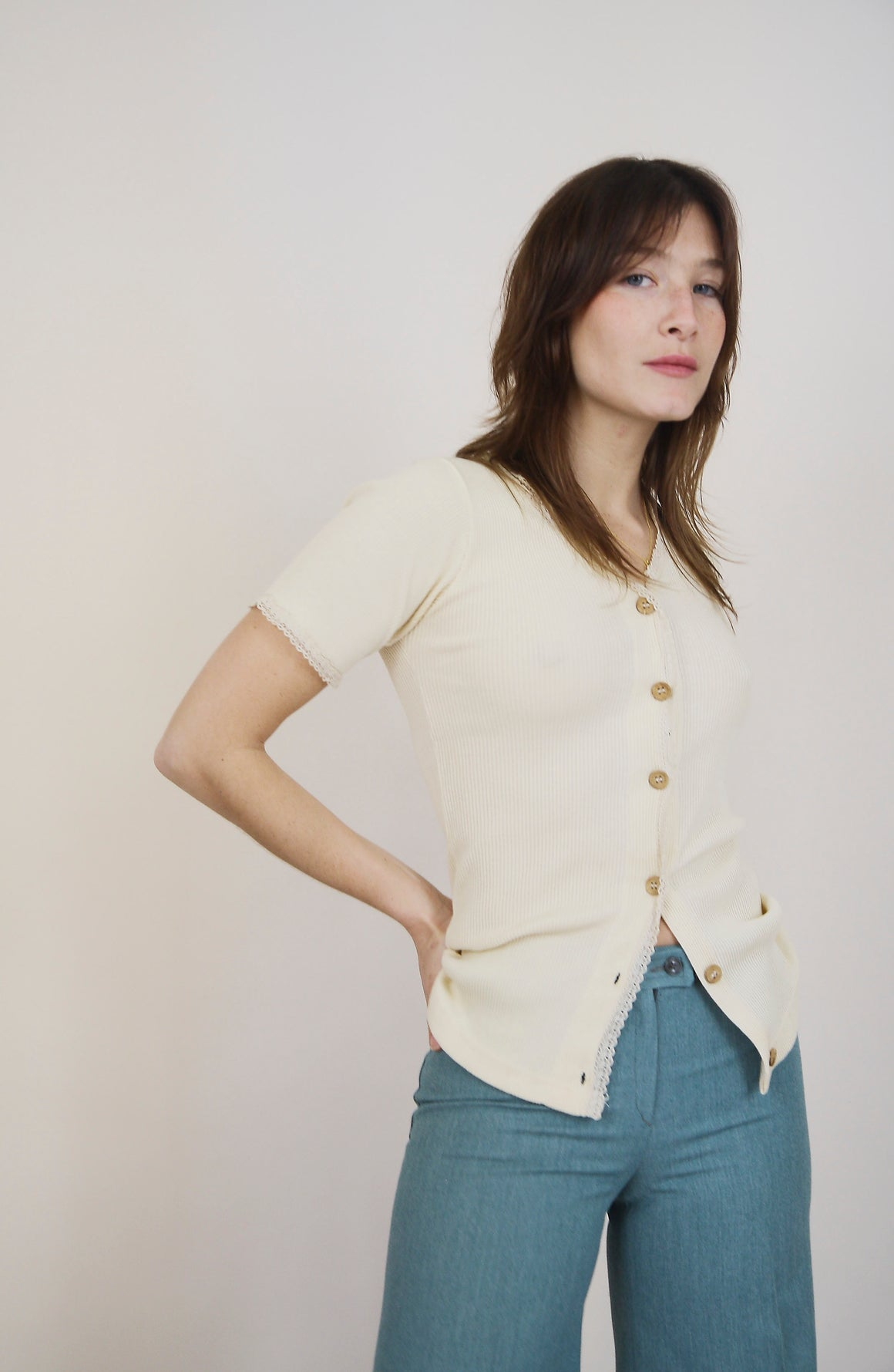 Vintage Cream Ribbed Cotton Top