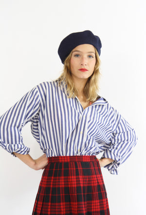 Navy and White Cotton Striped Shirt