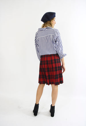 Red and Black Wool Checked Skirt