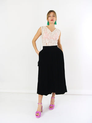 Soft Black Velvet Skirt