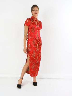Red Chinese Embroidered  Dress.