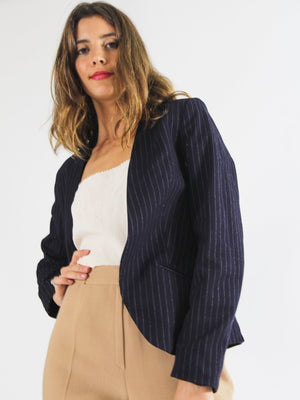 Navy Pin Striped Blazer
