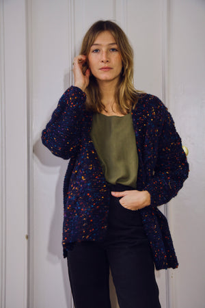 Dylan Navy Speckled Cardigan