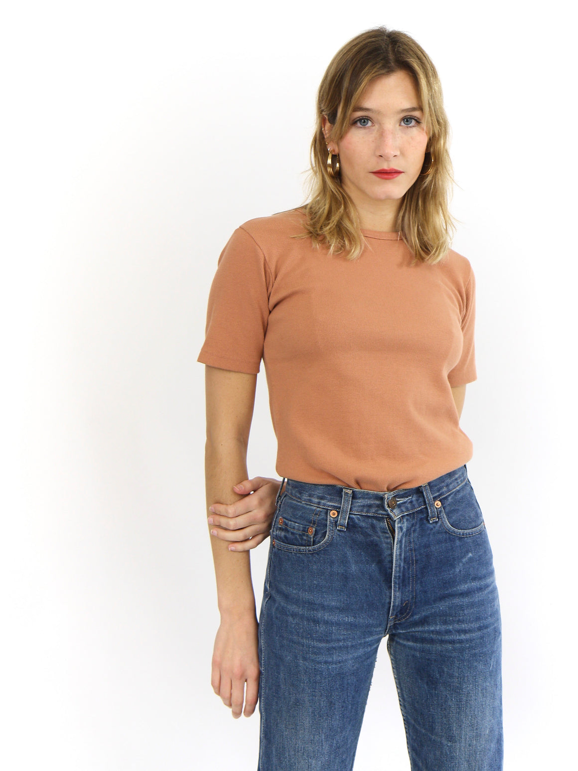 Cotton Ribbed Stretch Tee