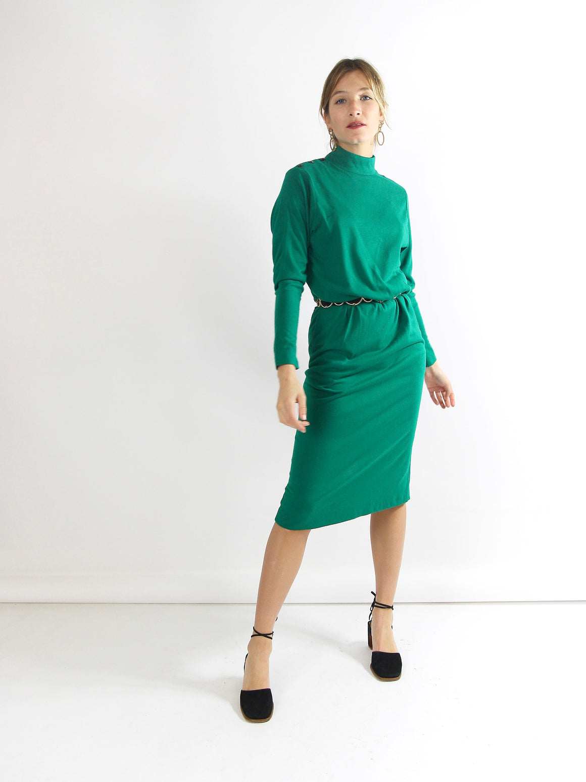 Green 80s Fitted Dress.