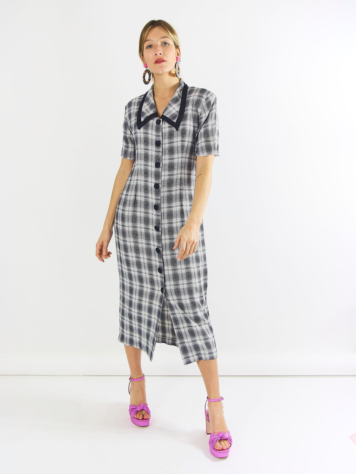 Pretty Checked Button Down Dress