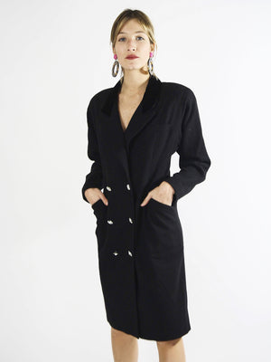 Anne Kline Black Wool Shirt Dress