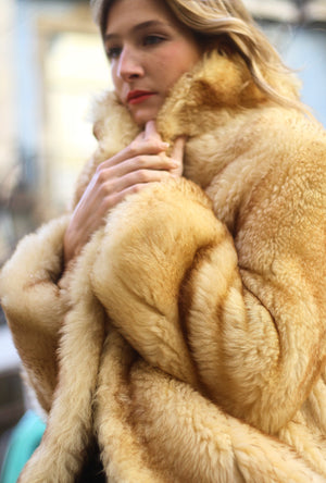 60s Vintage Caramel Sheep Fur Coat