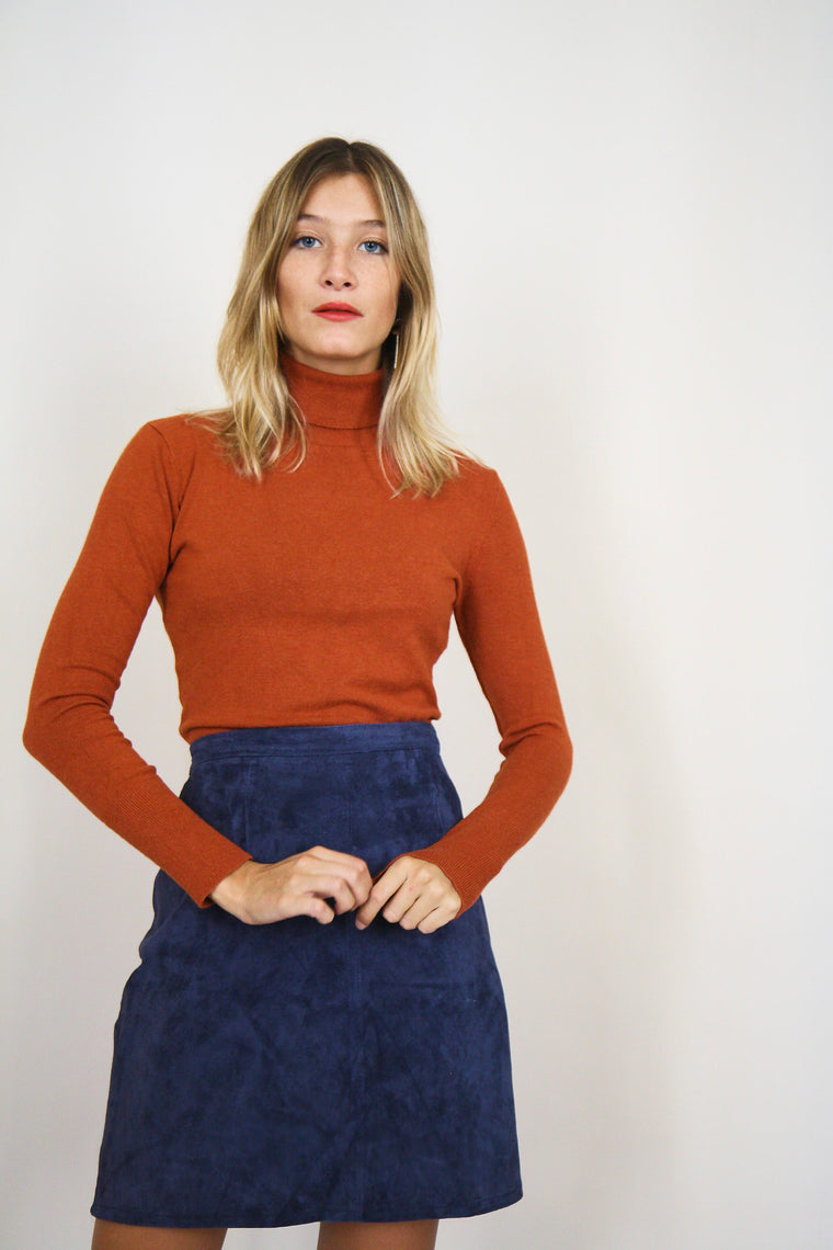 Powder Blue Suede Pencil Skirt