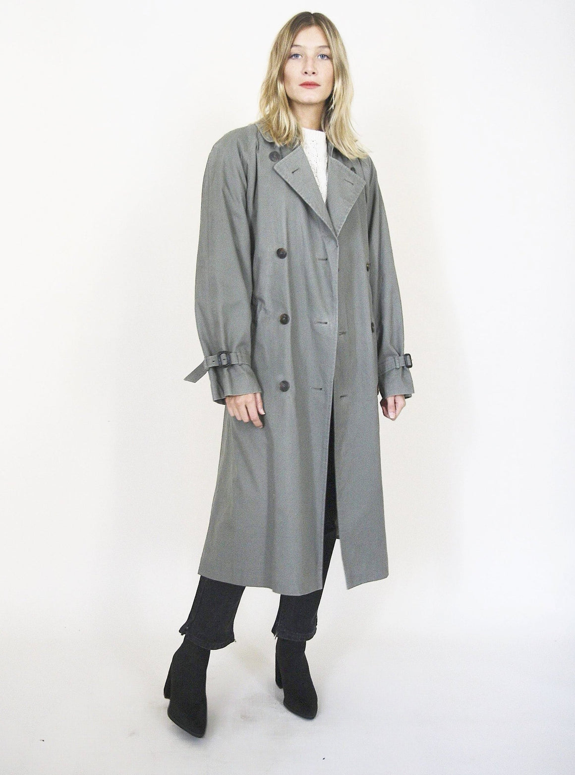Teal wool Lined Trench Coat