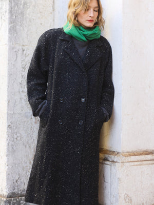 Black Wool Speckled Herringbone Coat