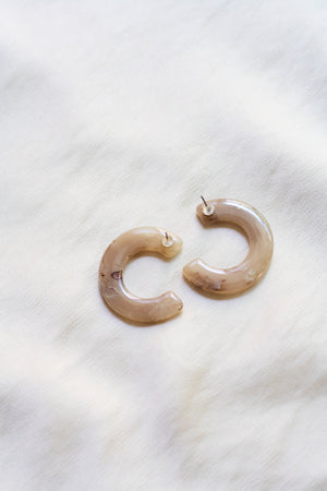 Marbled Beige Moon Earrings