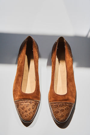 CALVIN KLEIN Brown Leather and Suede Pumps